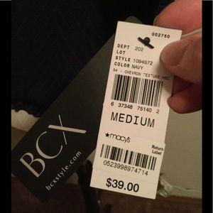 BCX Tops - BNWT, BCX Sheer Spilt Sleeve Top, Navy, + Necklace